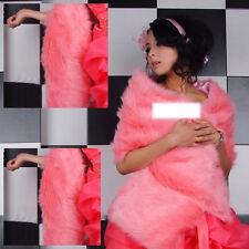 NEW Melon Red Long Faux Fur Evening Wrap / Bridal Shawl/ Wedding Cape