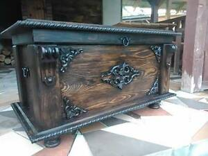 Wooden Blanket Box Coffee Table Trunk Vintage Chest Wooden Ottoman Toy Box MDL1