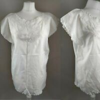 Vintage Women's Blouse White Floral Embroidered Crochet Retro Blogger Prairie 14