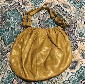 Fossil Yellow Purse Faux Leather Pleather Handbag Shoulder Bag Floral Lining