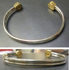24k Gold & Silver Plated Copper Magnetic Therapy Cuff Bracelet New in Package #9