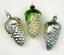 3 Vintage Silver Glass Xmas Christmas Tree New Year Ornaments Decor Pinecones