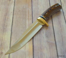 ROCKY MOUNTAIN WOOD HANDLE BOWIE HUNTING KNIFE WITH SHEATH **RAZOR SHARP** BLADE