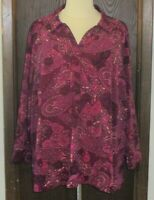 Catherines Blouse Sz. 3X 26 28 W Purple Floral Paisley V Neck Long Sleeve