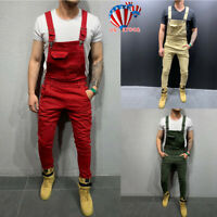 Men's Plain Jeans Dungaree Overalls Pants Trousers Denim Ripped Casual Jumpsuit