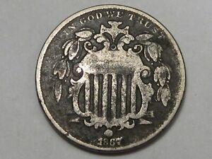 1867 US Shield Nickel (No Rays). #147