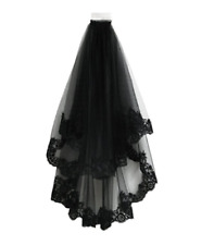 Women Bride Bridal Black Halloween Wedding head hair Lace Party Veil With Comb