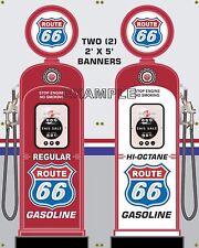 GAS PUMP SET ROUTE 66 BANNER GAS STATION SHOP GARAGE DISPLAY SIGN ART 2-2X5