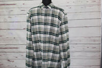 LL Bean Flannel Shirt Green Plaid Long Sleeve Button Down Men's Size M Tall