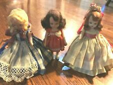 3 Vtg Early 1950s Nancy Ann Storybook Dolls ?Feb. vs Queen Heart, ?Goose Girl