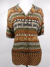 Beautiful Women's Large Notations Multi-Color Short Sleeve Button Blouse GUC