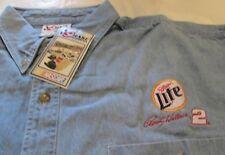 NASCAR Racing Rusty Wallace # 2 Long Sleeve Denim Shirt XL Miller Lite