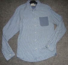 RIVER ISLAND men's blue and white striped shirt  Medium