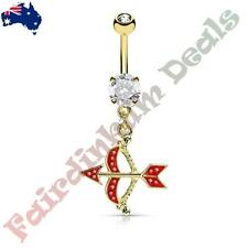 Gold Ion Plated Belly Ring with Paved Red Cz Cupids Bow & Arrow Dangle