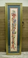 "Glynda Turley 1989 Framed Matted Signed Print Ribbons & Flowers 25-3/4"" x 8"""