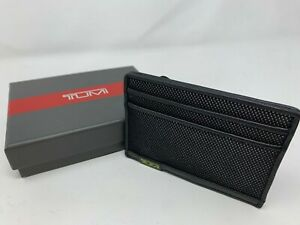 TUMI Alpha SLG Mens Slim Card Case Reflective Black WALLET NEW $50 Gift Box