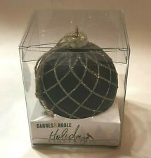 NEW GiftCraft Barnes & Noble Holiday BLACK & GOLD GLITTER Christmas Ornament