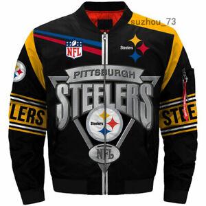 Men's Pittsburgh Steelers Jacket MA1 Flight Bomber Thicken Coat Football Outwear