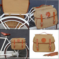 Tourbon Bike Double Pannier Cycling Rear Rack Bag Trunk Travel Waterproof Canvas