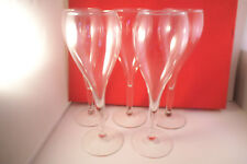 Vintage Set of 5 Clear Glass Hollow Stem Champagne Glasses