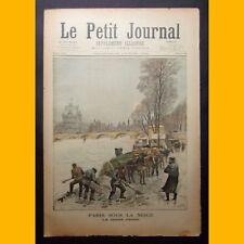LE PETIT JOURNAL Suppl. illustré PARIS SOUS LA NEIGE La Seine prise 24 fév. 1895