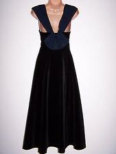 Laura Ashley vintage black velvet navy rear bow folded collar festive dress 12UK