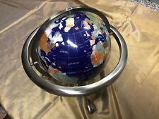 Gimballed Blue Globe with Stone Inlay & Compass Claw Footed Silver tone 13 H