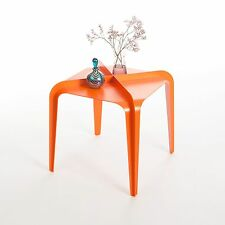 """""""Hafucha"""" Orange Contemporary Steel X Side Table, Signed & Numbered"""