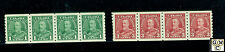 Canada #228, #230 Coil  Strips of 4  MNH VF Stamps. Catalog Value $240