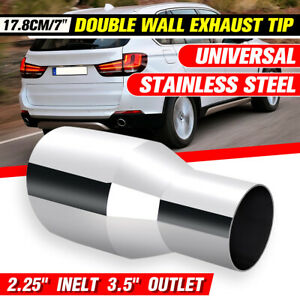 """2.25'' Inelt 3.5'' Outlet Stainless Exhaust Tip Double Wall Round Slant 7"""""""