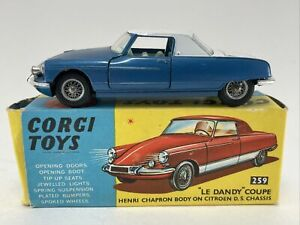 1960 Corgi Toys 259 LE DANDY COUPE HENRI CHAPRON BODY ON CITROEN DS CHASSIS BLUE