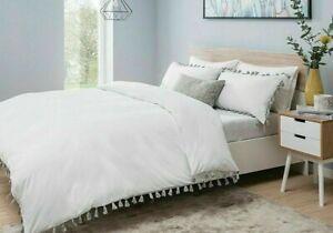 Pom Pom White / Grey Duvet Quilt Cover Luxury Border Bedding Set With P-cases