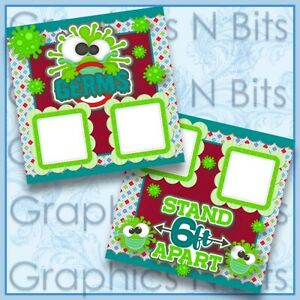 """GERMS 12""""x12"""" Printed Premade Scrapbook Pages"""