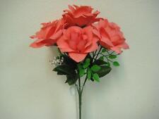 """2 Bushes CORAL Open Rose 7 Artificial Silk Flowers 15"""" Bouquet 039CL"""