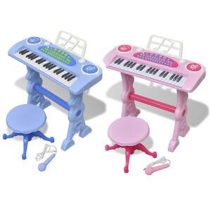 vidaXL Kinder Piano Keyboard Hocker Klavier Spielzeug Mikrofon Blau/Rosa