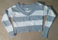 Aeropostale Women Gray White Stripped V-neck Short Pullover Sweater Sz M EUC 142