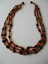 Collana vintage a tre fili di ambra naturale di vari colori peso g 25