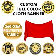 CUSTOM Polyester Fabric cloth Banner 4 X 8' Feet SIGN 260 GSM Material (NO FLEX)