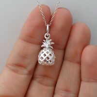 3D Pineapple Necklace - 925 Sterling Silver - Pendant Vacation Pineapples Hawaii