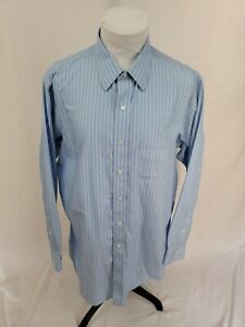 BROOKS BROTHERS REGENT Blue Green Striped NON-IRON Dress Shirt 17.5 x 34/35 EUC