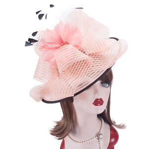 Pink Womens Kentucky Derby Fascinator Wedding Church Racing Hat  Headpiece T429