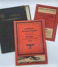 Rare WW2 German 1943 Dresden Phone Book, Hotel Regina Fernruf Cover, Leaflet