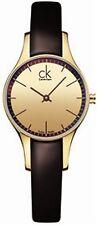 Calvin Klein Women's Brown Leather Strap Watch K4323209 New Slight Second