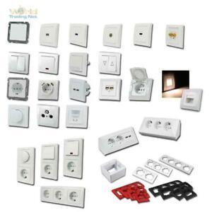 DELPHI Schalterprogramm weiß, Schalter, Dimmer & Steckdosen mit Rahmen Unterputz