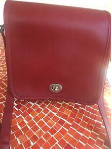 Vintage Coach Legacy Companion Red Leather Crossbody Bag Purse 9076 Nice!