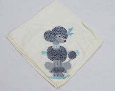 Vintage 50s Hand Painted French Poodle Handkercheif Cotton Hanky Novelty Print