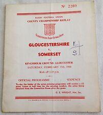 1968 Championnat du comté de rugby programme-gloucs V Somerset