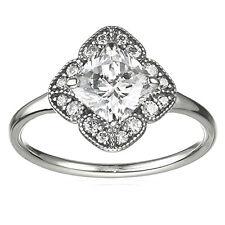 Floral Fancy Ring 925 Solid Sterling Silver Pave Vintage Flower Size 58 / 8.5