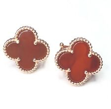 Red Carnelian Rose Gold Solid 925 Silver Four Leaf Clover Flower Stud Earrings
