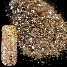Nail Art Glitter Powder Dust Acrylic UV Gel Manicure Decor Mixed Rose Gold 3g
